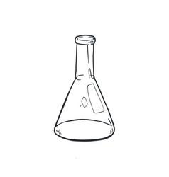 Glass beaker sketch vector