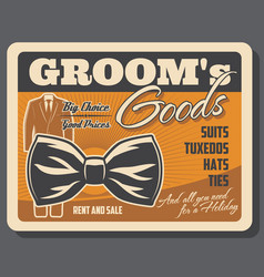 groom goods retro poster with tuxedo and bowtie vector image