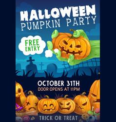 Halloween pumpkin zombie trick or treat candies vector
