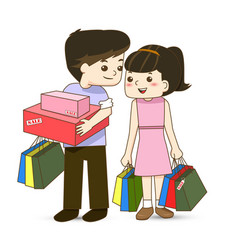 Happy couple with shopping bags in hand vector
