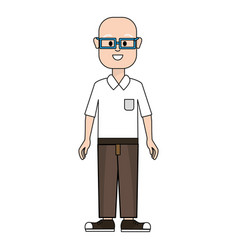 happy man with glasses shirt and pants vector image