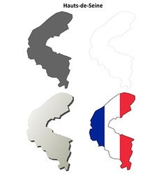 Hauts-de-seine ile-de-france outline map set vector