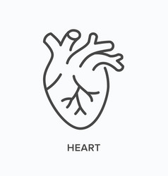 Heart flat line icon outline vector