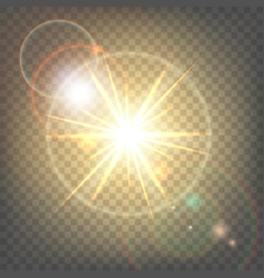 Heat sun with glare lens flare vector