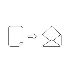 icon concept paper inside opened mail envelope vector image