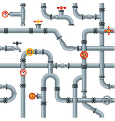 Industrial pipes seamless pattern pipe valves vector