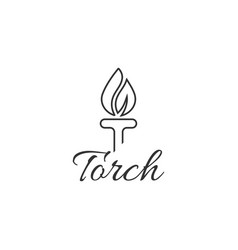 initial letter t burning torch fire flame vector image