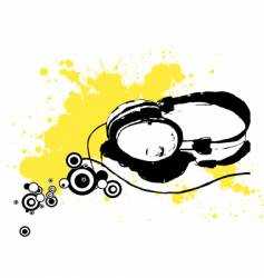 ink drawn headphones vector image