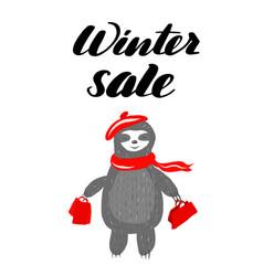 inspirational lettering inscription winter sale vector image