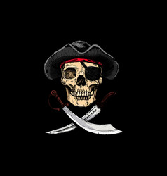 jolly roger pirates treated flags vector image