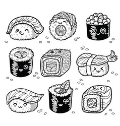 Kawaii rolls and sushi manga cartoon set in vector