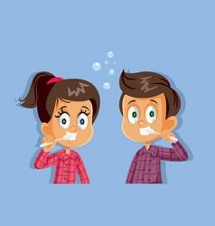 kids in pajamas brushing their teeth vector image