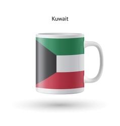 Kuwait flag souvenir mug on white background vector image