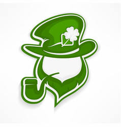 leprechaun with pipe on white vector image