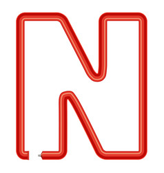 letter n plastic tube icon cartoon style vector image