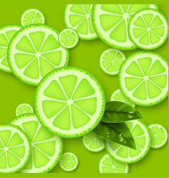 lime green background sliced limes pieces with vector image
