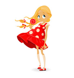 little girl in red dress cartoon character cute vector image