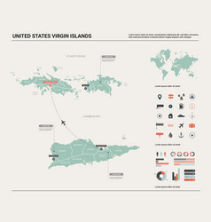 Map united states virgin islands high detailed vector