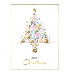 Merry christmas pine tree card design in gold vector image vector image