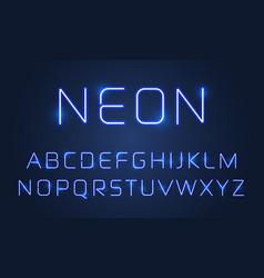 neon light font alphabet letters set blue vector image