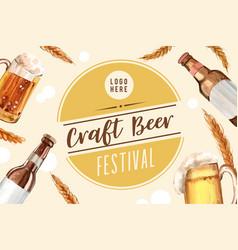 Oktoberfest frame design with beer wheat vector
