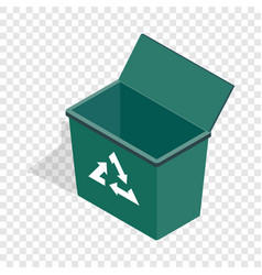 open garbage container with recycling sign icon vector image