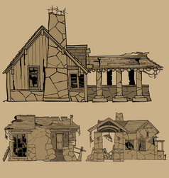 painted monochrome sketches of destroyed stone vector image