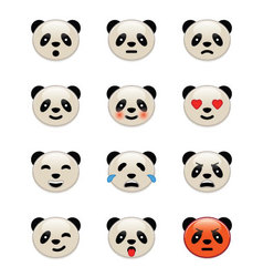 Panda bear emotion icons vector image