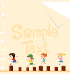 paper template with children on logs vector image