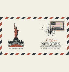 postcard with new york statue liberty vector image