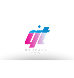 qt q t alphabet letter combination pink blue bold vector image