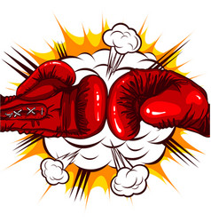 red boxing gloves retro on the background of the vector image