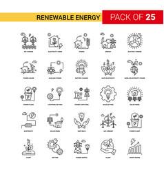 renewable energy black line icon - 25 business vector image