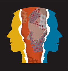 Schizophrenia depression male heads vector