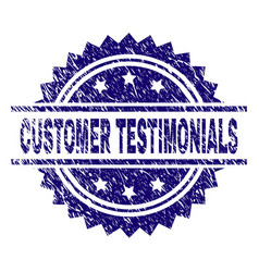 Scratched textured customer testimonials stamp vector