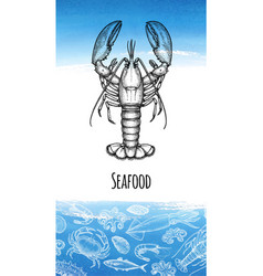 seafood menu design template vector image