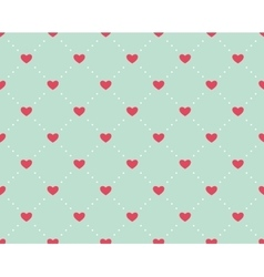 Seamless pattern of hearts on a light green vector image