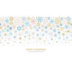 Seamless snowflake border xmas header or banner vector
