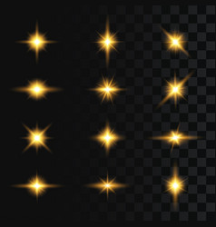 set flashes star burst and sparkles on vector image