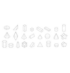 Set of basic geometric shapes geometric solids vector
