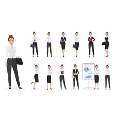 Set of business woman character office vector