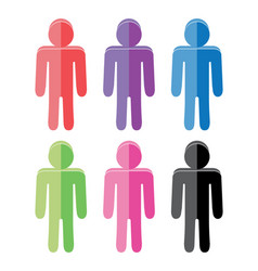 Set of colorful flat people icons vector