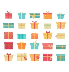 Set of Colorful Gift Boxes with Ribbons and Bows vector image