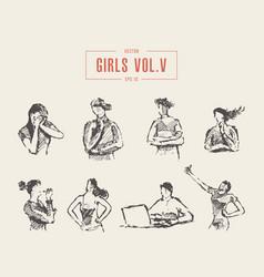 set various teenage girls emotions poses vector image