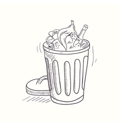 Sketched full trash bin desktop icon vector image