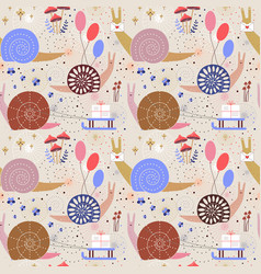 snail mail delivery seamless pattern vector image
