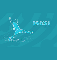 soccer player with ball on blue background vector image