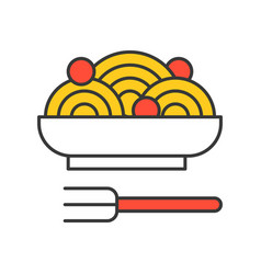 Spaghetti and meatballs food set filled outline vector