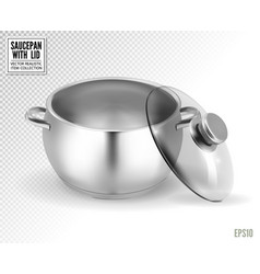 steel saucepan with glass lid on a transparent vector image