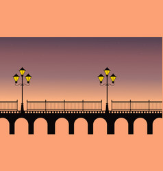 Street lamp on bridge at night scenery vector